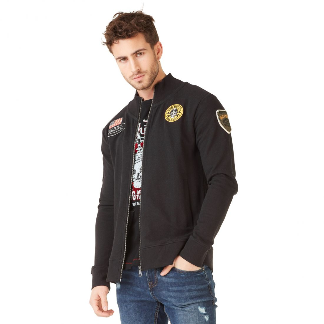 Sweat à capuche zippé homme Von Dutch Tuscon Noir