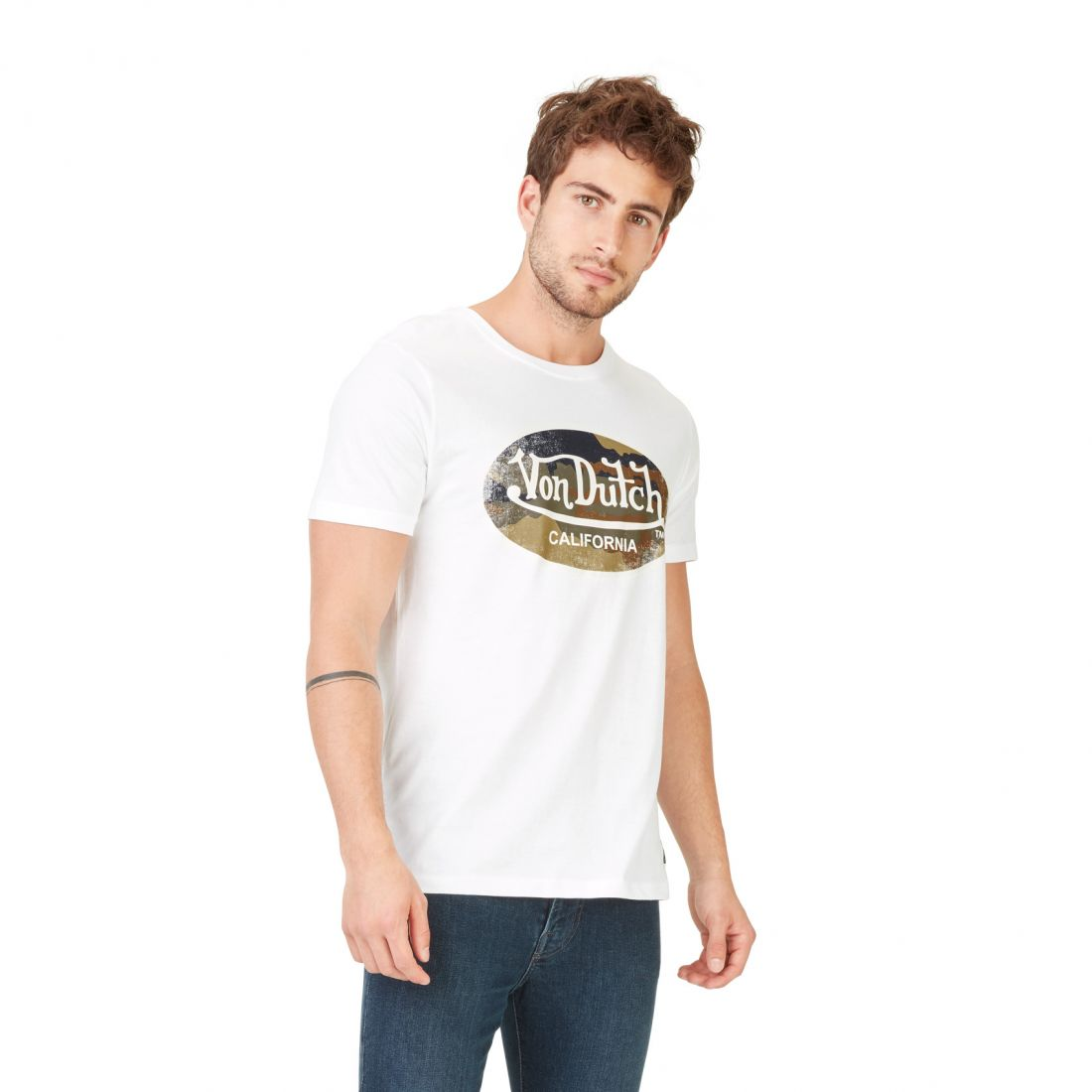 T-shirt's Man Von Dutch Aarmy Blanc side