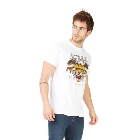 T-shirt homme Von Dutch Big Tiger Blanc
