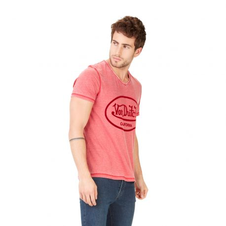T-shirt Col V homme Von Dutch Aeron Rouge