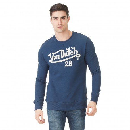 Sweat Homme Von Dutch Cut Logo Bleu vue de face