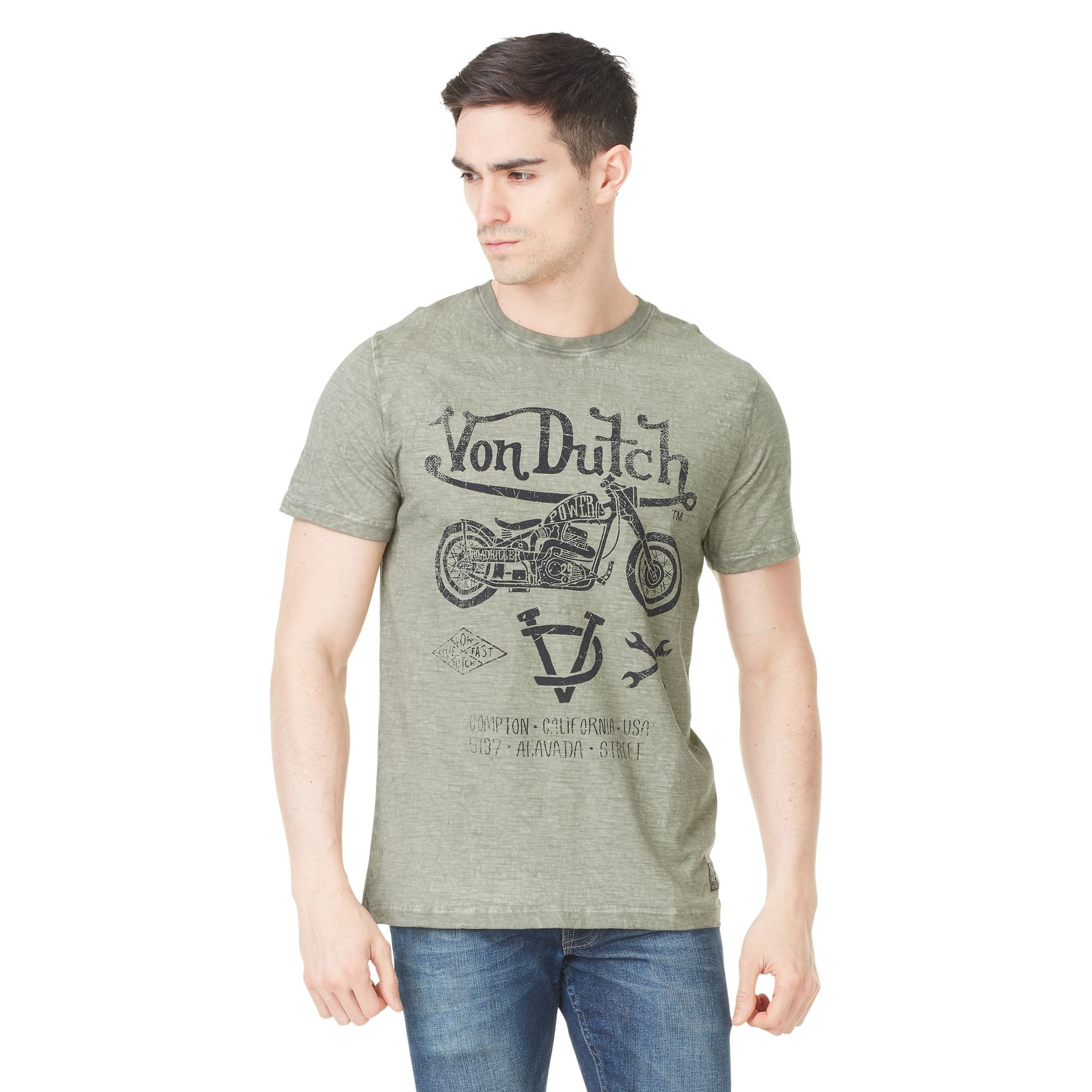 T shirt homme von dutch shelby imprimé gris clair gris Von