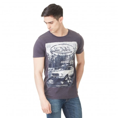 Von Dutch men's dark grey Mc Mustang printed t-shirt