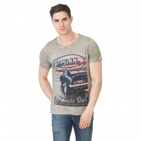 Von Dutch men's light grey Shelby printed t-shirt