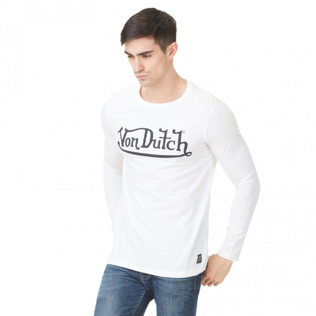 T-shirt Homme Von Dutch Boss Logo Blanc vue de face