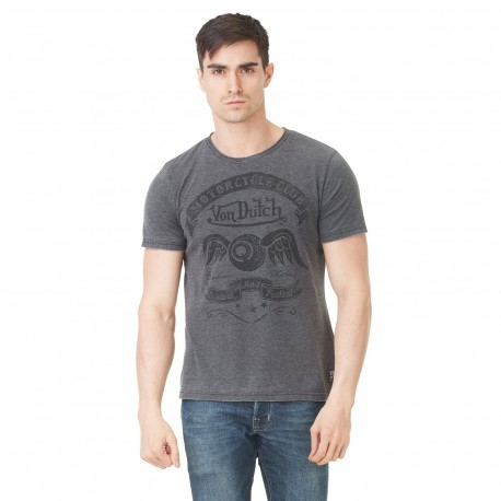 Von Dutch men's grey v-neck Club printed t-shirt