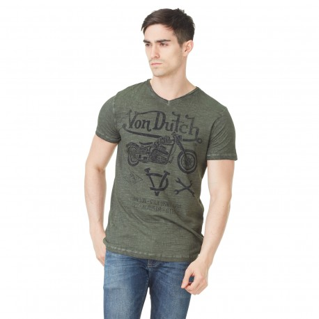 Von Dutch men's printed khaki Lew v-neck t-shirt