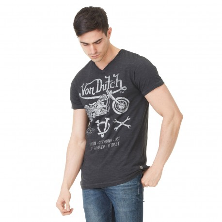 Von Dutch men's black printed Lew v-neck t-shirt