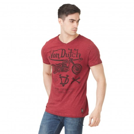 Von Dutch men's red printed Lew v-neck t-shirt