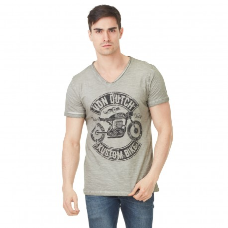Von Dutch men's grey printed Orsen v-neck t-shirt