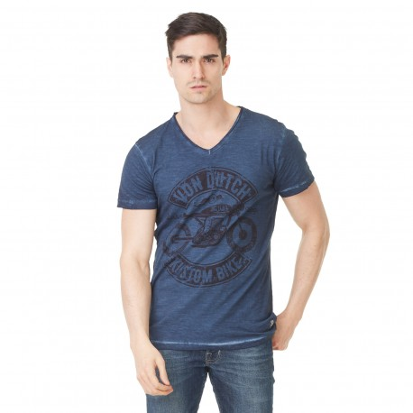 Von Dutch men's bleu printed Orsen v-neck t-shirt