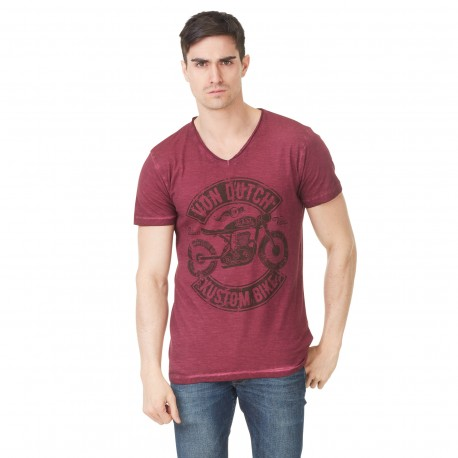 Von Dutch men's red printed Orsen v-neck t-shirt