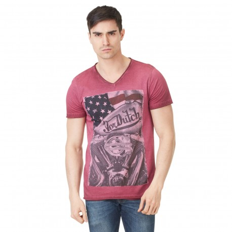 T-shirt Col V Homme Von Dutch Star Imprimé Rouge