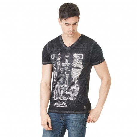 Von Dutch men's black printed v-neck t-shirt