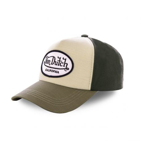 Casquette baseball Von Dutch Jacks Marron Ecusson Blanc