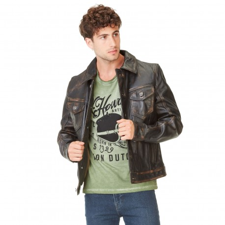 Veste en cuir homme Von Dutch India Noir