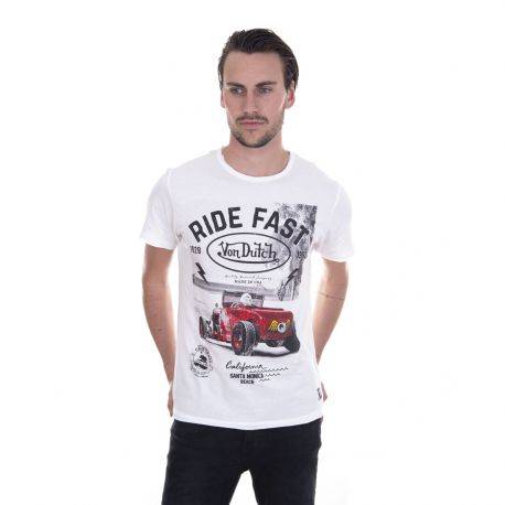 T-shirt Homme Von Dutch MC Beach Blanc