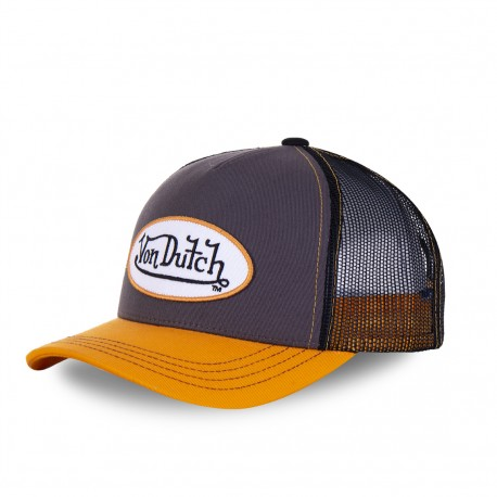Casquette homme baseball Von Dutch Col Gris et Orange