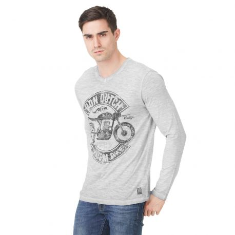 Von Dutch men's blue printed Olive v-neck t-shirt