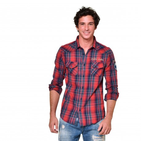 Men's Von Dutch Jack red plaid shirt