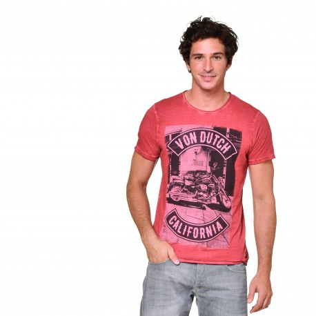 T-shirt col rond homme Motorcycle Von Dutch vue de face rouge
