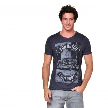 T-shirt col rond homme Motorcycle Von Dutch vue de face noir