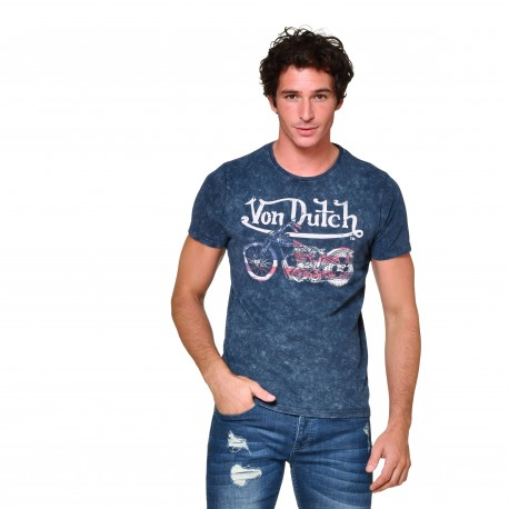 T-shirt col rond homme US Motorcycle Von Dutch vue de face bleu
