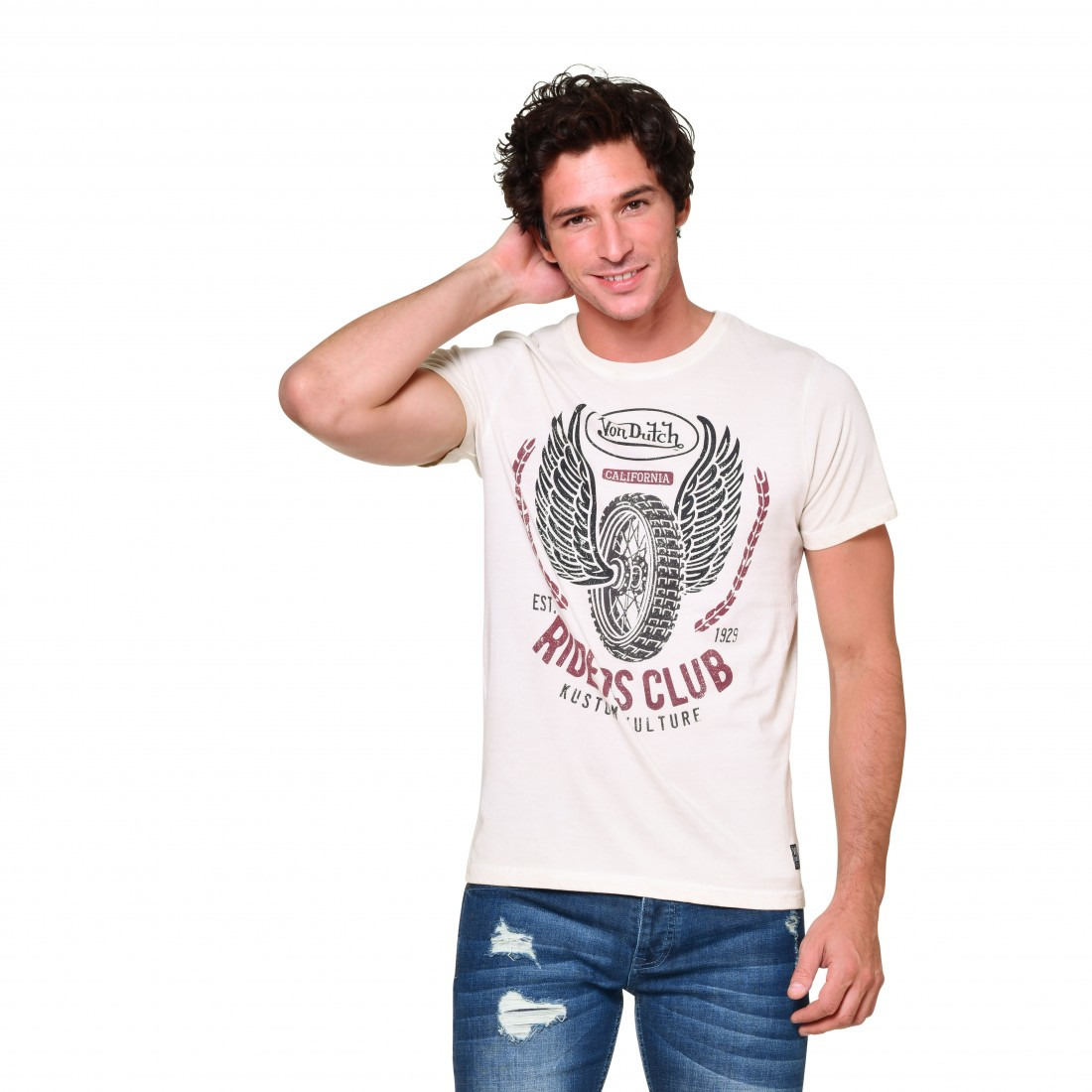 Men's Von Dutch Riders Club Beige T-Shirt