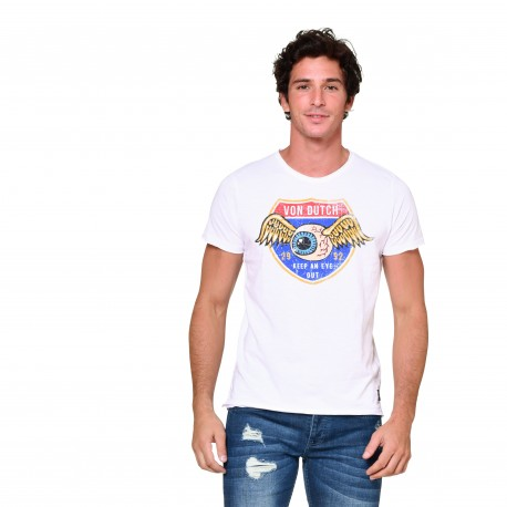 T-shirt col V homme Keep an Eye Out Von Dutch vue de face blanc