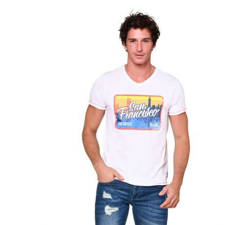 T-shirt col V homme San Francisco Von Dutch vue de face blanc