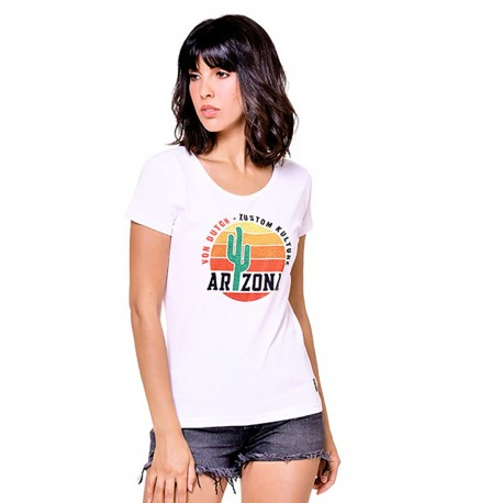 T-shirt col rond et strass Arizona Von Dutch vue de face blanc