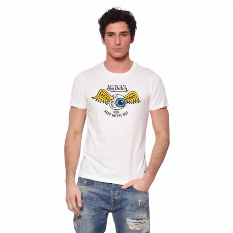 T-shirt homme Coton Eye Von Dutch vue de face blanc