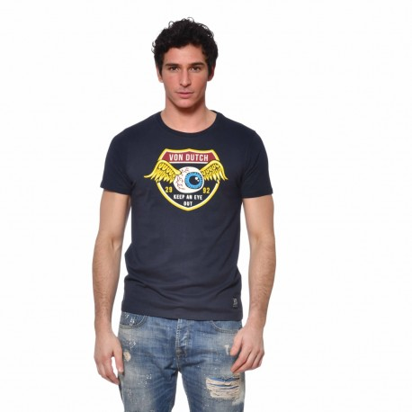 T-shirt homme Coton Keep Von Dutch vue de face bleu marine