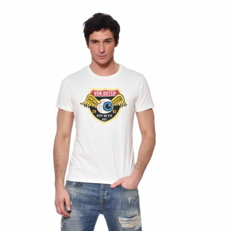 T-shirt homme Coton Keep Von Dutch vue de face blanc