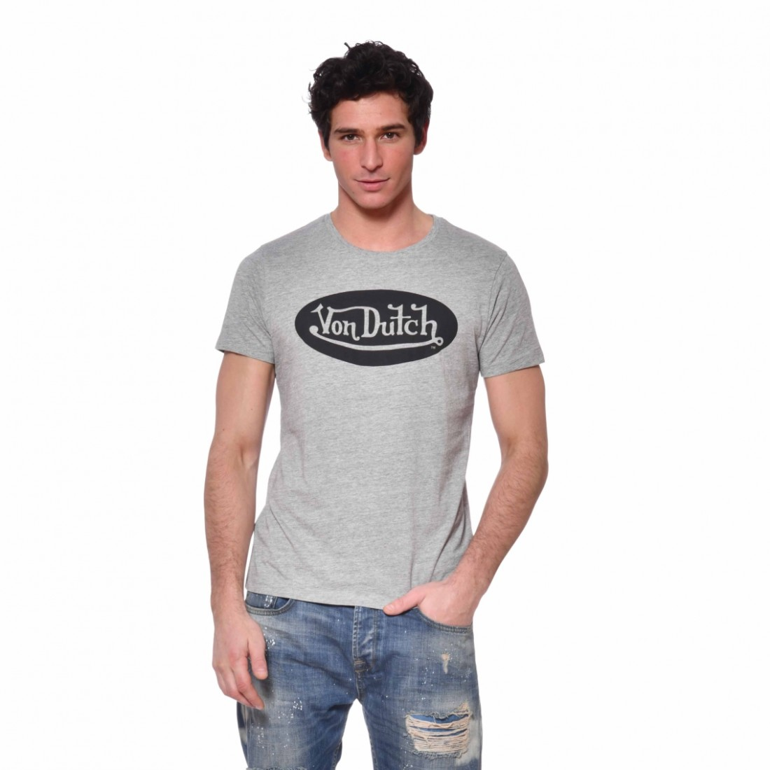 Men's Von Dutch Front Grey Cotton T-Shirt