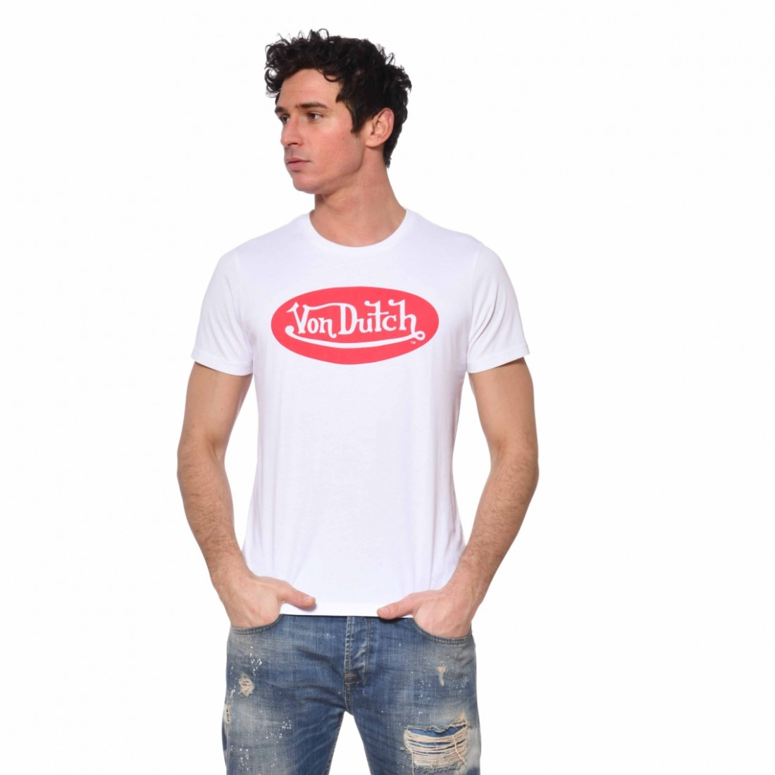 Men's Von Dutch Front White Cotton T-Shirt