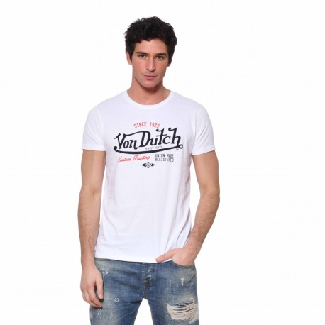T-shirt Von Dutch homme Paint Von Dutch vue de face blanc