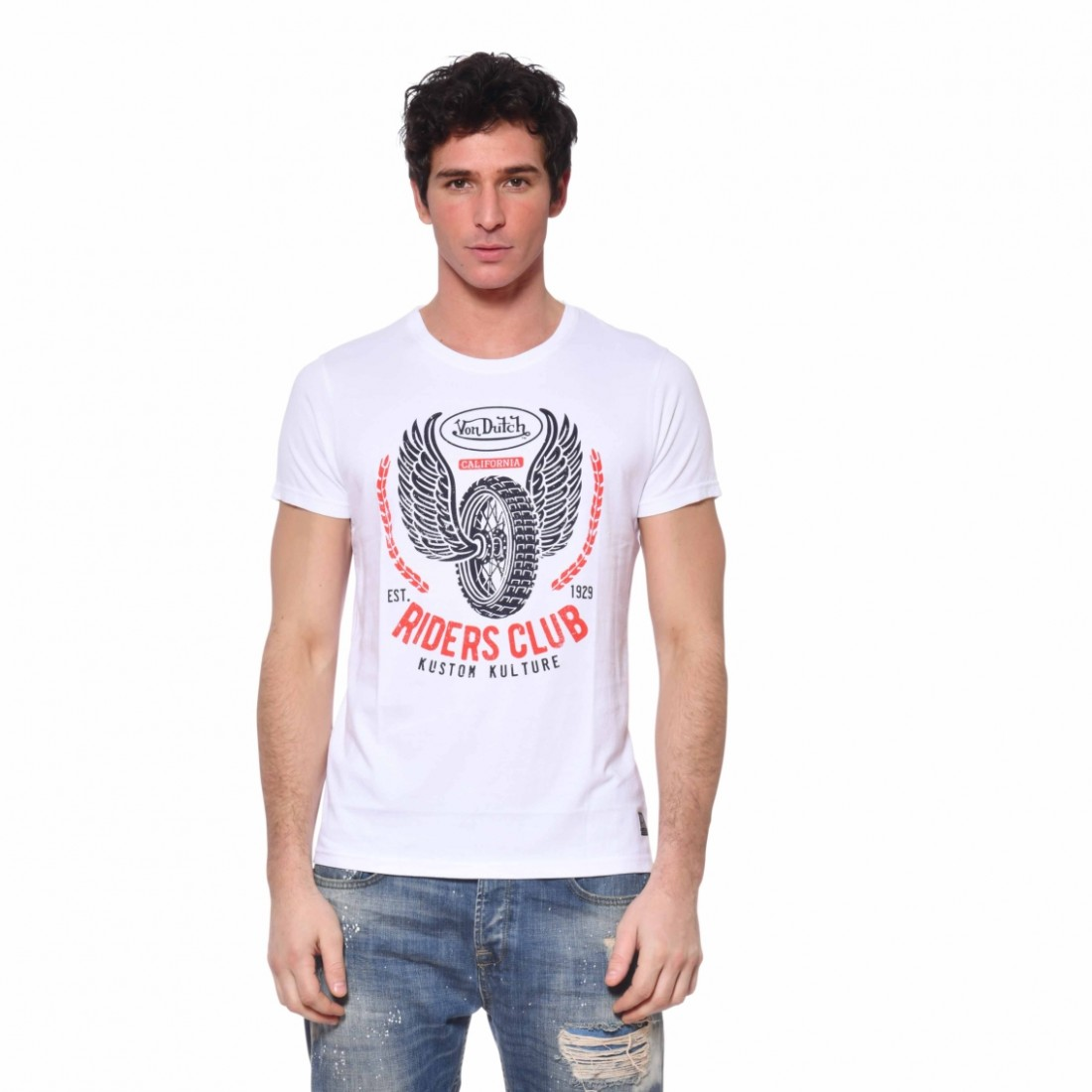 Men's Von Dutch Wheel White T-Shirt