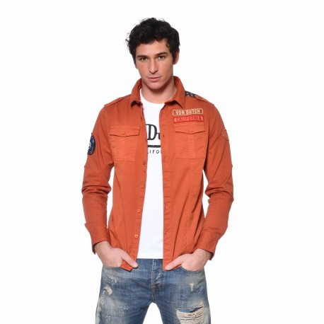 Chemise coton homme Narmy Von Dutch vue de face orange