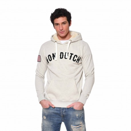 Sweat à capuche doublure sherpa homme Must Von Dutch vue de face gris clair