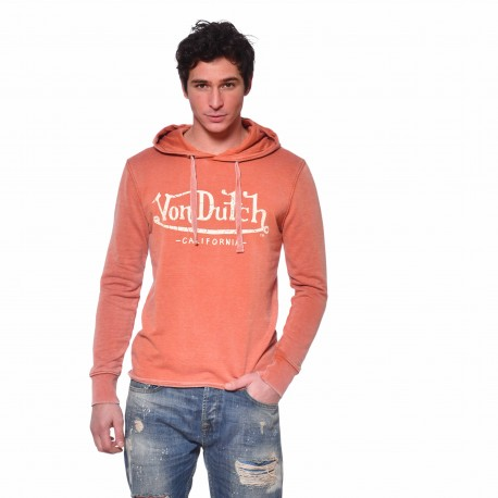 Sweat à capuche homme Ryan Von Dutch vue de face orange