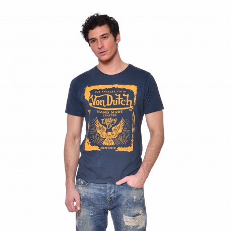 T-shirt coton homme Crafted Von Dutch vue de face bleu