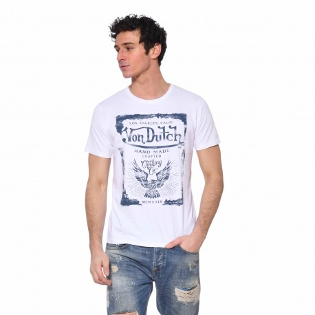 T-shirt coton homme Crafted Von Dutch vue de face blanc