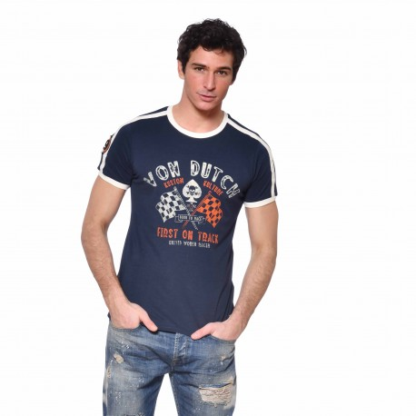 Men's Von Dutch Gamb blue cotton T-shirt front