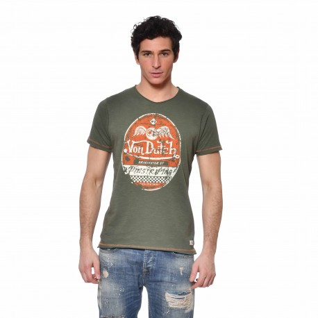 Men's Von Dutch Original kakhi cotton T-shirt front