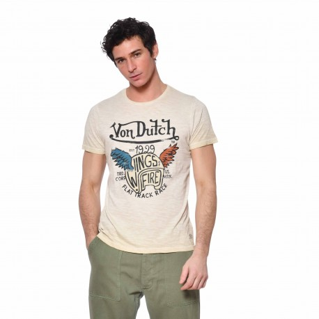 Men's Von Dutch Wing beige cotton T-shirt front