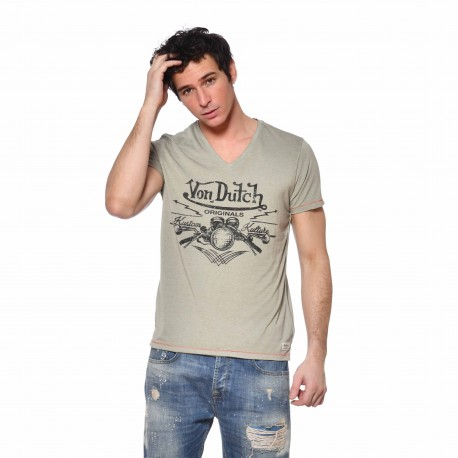 Men's Von Dutch Crox kakhi T-shirt front