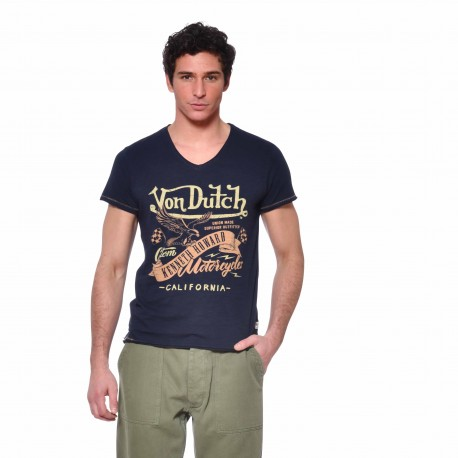 T-shirt Col V homme Eagle Von Dutch vue de face bleu