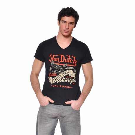 T-shirt Col V homme Eagle Von Dutch vue de face noir