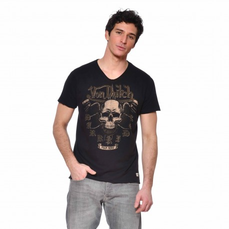 T-shirt col V coton homme Fear Von Dutch vue de face noir
